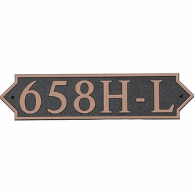 Large Horizontal Wall Mount Address Plaque Copper Black - Pointed