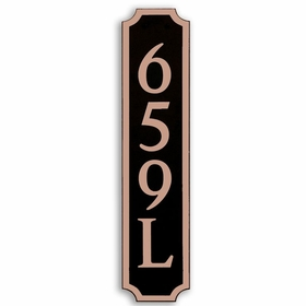 Large Vertical Wall Mount Address Plaque Copper Black - Square