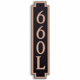 Large Vertical Wall Mount Address Plaque Copper Black