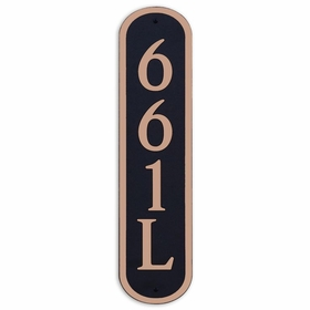 Large Vertical Wall Mount Oval Address Plaque Copper Black