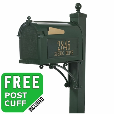 Whitehall Deluxe Mailbox Package - Green (Newspaper Holder and Door Plaque Sold Separately)