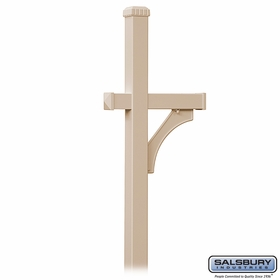 Salsbury 4870BGE Deluxe Mailbox Post 1 Sided In Ground Mounted Beige