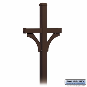 Salsbury 4872BRZ Deluxe Mailbox Post 2 Sided For (2) Mailboxes In Ground Mounted Bronze Finish