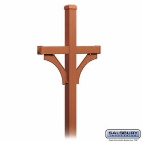 Salsbury 4872COP Deluxe Mailbox Post 2 Sided For (2) Mailboxes In Ground Mounted Copper Finish