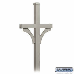 Salsbury 4872NIC Deluxe Mailbox Post 2 Sided For (2) Mailboxes In Ground Mounted Nickel Finish