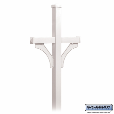 Salsbury 4872WHT Deluxe Mailbox Post 2 Sided For (2) Mailboxes In Ground Mounted White
