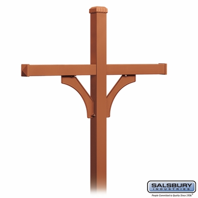 Salsbury 4874COP Deluxe Mailbox Post 2 Sided For (4) Mailboxes In Ground Mounted Copper Finish