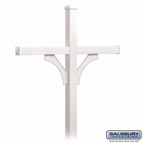 Salsbury 4874WHT Deluxe Mailbox Post 2 Sided For (4) Mailboxes In Ground Mounted White Finish