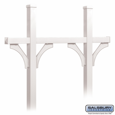 Salsbury 4875WHT Deluxe Mailbox Post - Bridge Style for (5) Mailboxes - In-Ground - White