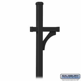 Salsbury 4370BLK Deluxe Post 1 Sided In Ground Mounted For Roadside Mailbox Black