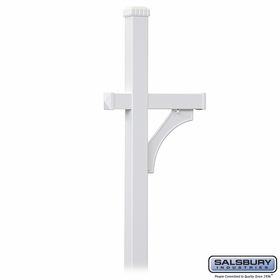 Salsbury 4370WHT Deluxe Post 1 Sided In Ground Mounted For Roadside Mailbox White