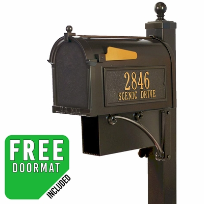 Whitehall Deluxe Westwood Curbside Mailbox Package with Newspaper in Bronze