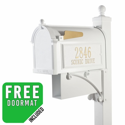 Whitehall Deluxe Westwood Curbside Mailbox Package with Newspaper in White