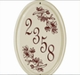 Whitehall Dogwood Ceramic Oval - Vertical One Line Standard Wall Plaque - Red