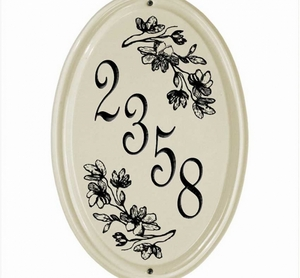 Whitehall Dogwood Ceramic Oval - Vertical One Line Standard Wall Plaque - Black