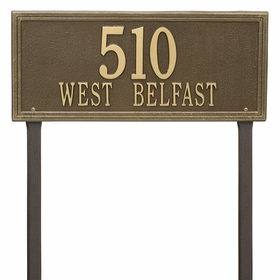 Double Line Estate Lawn Address Sign - Two Line