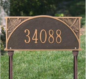Dragonfly Standard Lawn Address Sign - One Line
