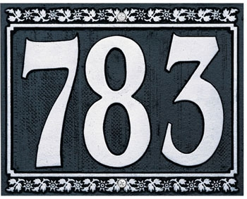 Dresden Three Number Wall Plaque - (1 Line)
