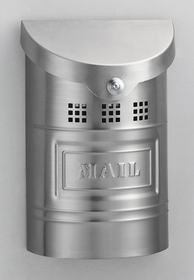 E1XM Wall Mounted Brushed Stainless Steel Modern Mailbox with Brushed Stainless Steel Mail Plate (smaller than E2XM)