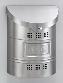 E2XM Wall Mounted Brushed Stainless Steel Modern Mailbox with Brushed Stainless Steel Mail Plate
