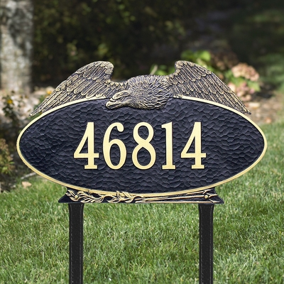 Eagle Oval - One Line - Estate Lawn Address Sign