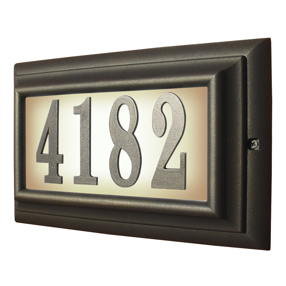 Lighted Address Sign Part - 45: Edgewood Large Lighted Address Plaque In Oil Rub Bronze Frame Color