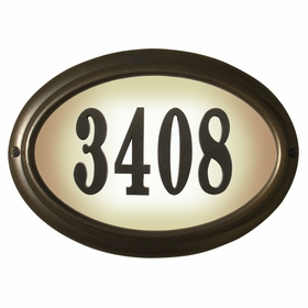 Edgewood Oval Lighted Address Plaque in Oil Rub Bronze Frame Color