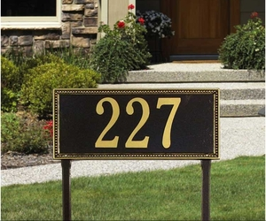 Egg and Dart Estate Lawn Address Sign - One Line
