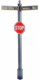 "Estate Square Post Street Sign with Cast Blades and 24"" Stop Sign"