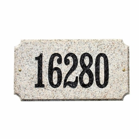 "Executive ""Cut Corner"" Rectangle Solid Granite Address Plaque with Engraved Text - Autumn Leaf Natural Color"