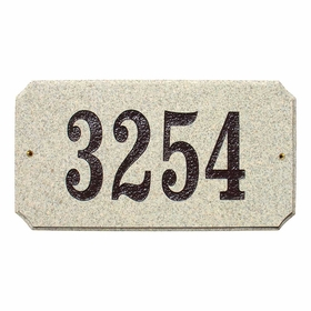 "Executive ""Cut Corner"" Rectangle Solid Granite Address Plaque with Engraved Text - Sand Granite Polished Natural Stone Color"