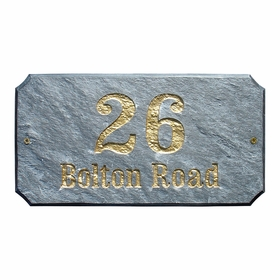 "Executive ""Cut Corner"" Rectangle Solid Granite Address Plaque with Engraved Text - Slate Stone Color"