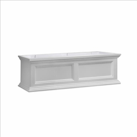 Fairfield Window Flower Box 3ft Wide in White (includes wall mount brackets)