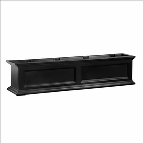 Fairfield Window Flower Box 4ft Wide in Black (includes wall mount brackets)