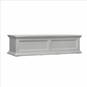Fairfield Window Flower Box 4ft Wide in White (includes wall mount brackets)