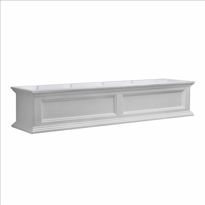 Fairfield Window Flower Box 5ft Wide in White (includes wall mount brackets)