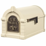 Fleur De Lis Keystone Series Mailbox - Almond with Antique Bronze Accent