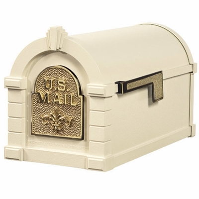 Fleur De Lis Keystone Series Mailbox - Almond with Polished Brass Accent