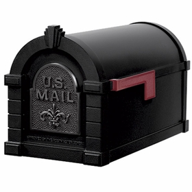 Fleur De Lis Keystone Series Mailbox - Black with Black Accent