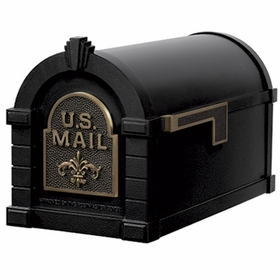 Fleur De Lis Keystone Series Mailbox - Black with Antique Bronze Accent