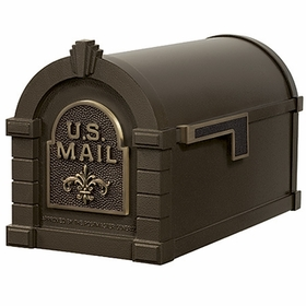 Fleur De Lis Keystone Series Mailbox - Bronze with Antique Bronze Accent