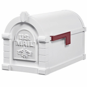 Fleur De Lis Keystone Series Mailbox - White with White Accent