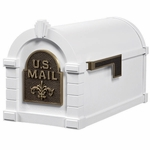 Fleur De Lis Keystone Series Mailbox - White with Antique Bronze Accent