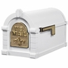 Fleur De Lis Keystone Series Mailbox - White with Polished Brass Accent