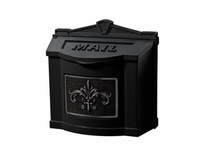Fleur de Lis Wall Mount Mailbox - All Black