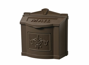 Fleur de Lis Wall Mount Mailbox - All Bronze