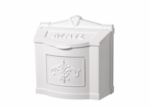 Fleur de Lis Wall Mount Mailbox - All White
