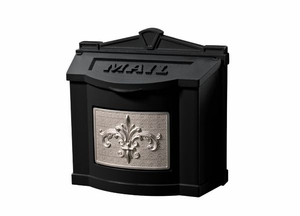 Fleur de Lis Wall Mount Mailbox - Black with Satin Nickel