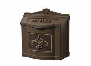 Fleur de Lis Wall Mount Mailbox - Bronze with Antique Bronze