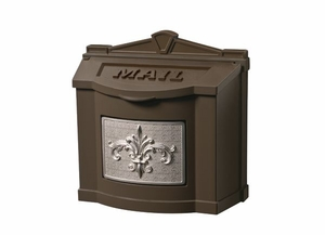 Fleur de Lis Wall Mount Mailbox - Bronze with Satin Nickel